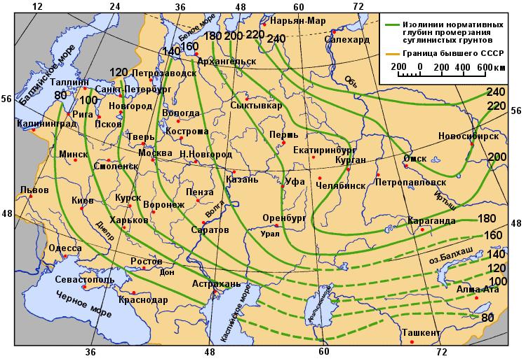 Карта сезонного промерзания грунта (СНиП)